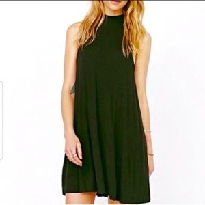 Topshop | Green Mock Neck Sleeveless Swing Dress